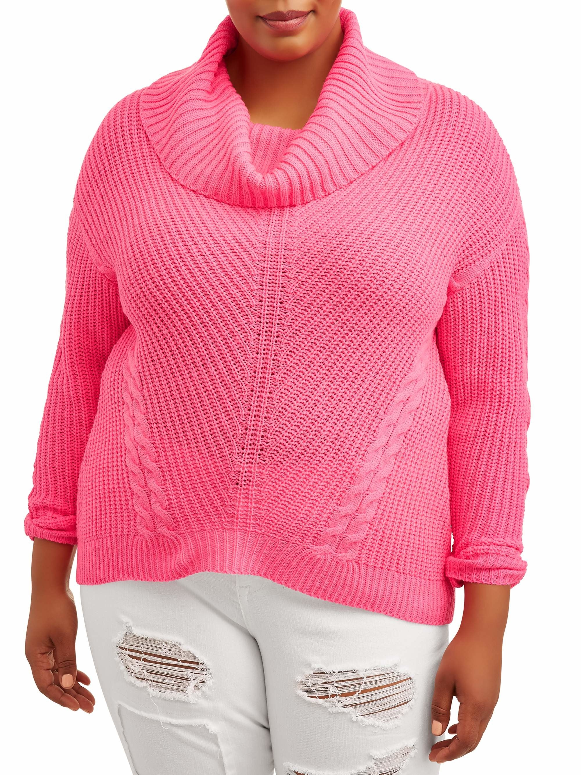 the sweater in bright pink