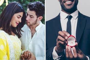 Priyanka and Nick Jonas and a man proposing.