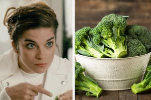 Side-by-side images of Alexis from Schitt's Creek pointing to a vegetable in her hand and a bowl of fresh broccoli