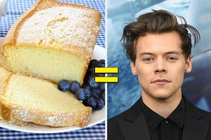 Plain pound cakes with a plate of blueberries on the left with an equal sign in the center and a portrait of Harry Styles on the right