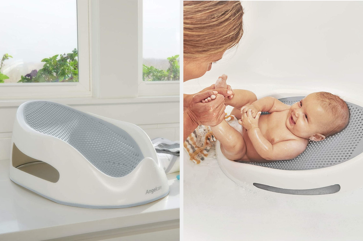 Side-by-side image of an empty white and gray bath support next to one with a baby inside being bathed