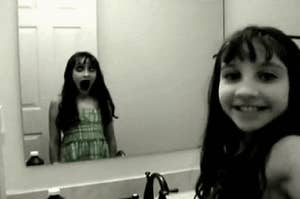 A girl's reflection making an evil face at herself