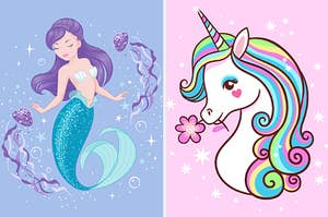 Two images of a mermaid and a unicorn