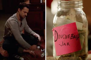 In one image Nick from New Girl applies foot lotion, and another image shows the douchebag jar with money in it