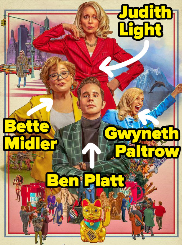 The official poster from The Politician shows illustrated likenesses of several characters and visual motifs from the show including Judith Light, Bette Midler, Gwyneth Paltrow, and Ben Platt whose names are written across the poster