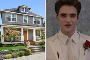 An image of a modern two story home and another image of Edward smiling in a white suit