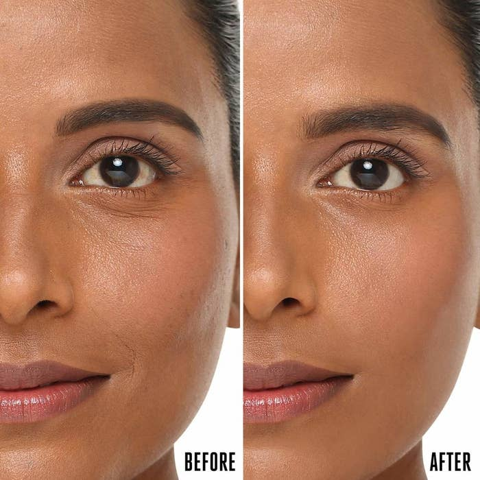 A before-and-after image of a person using the primer