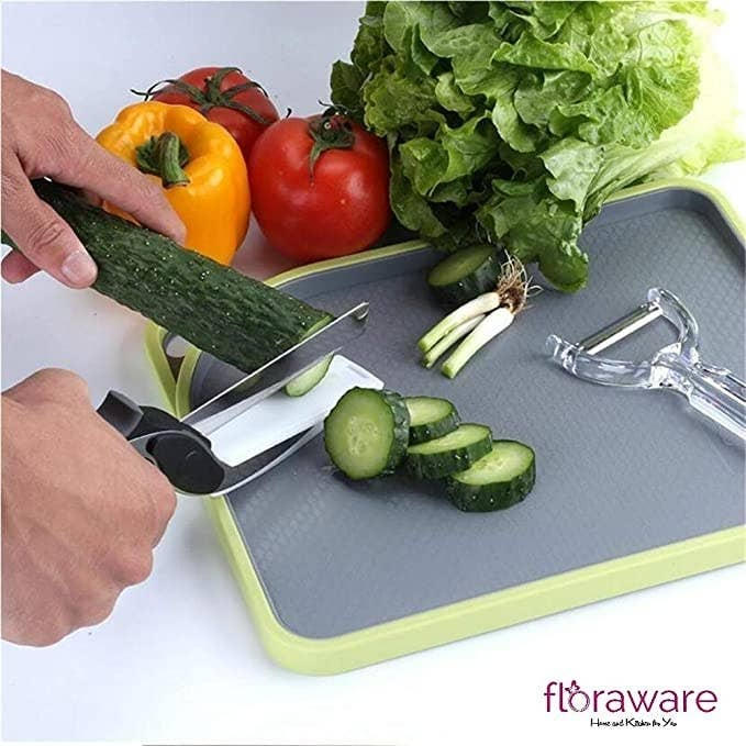 Clever cutter used to chop a cucumber.