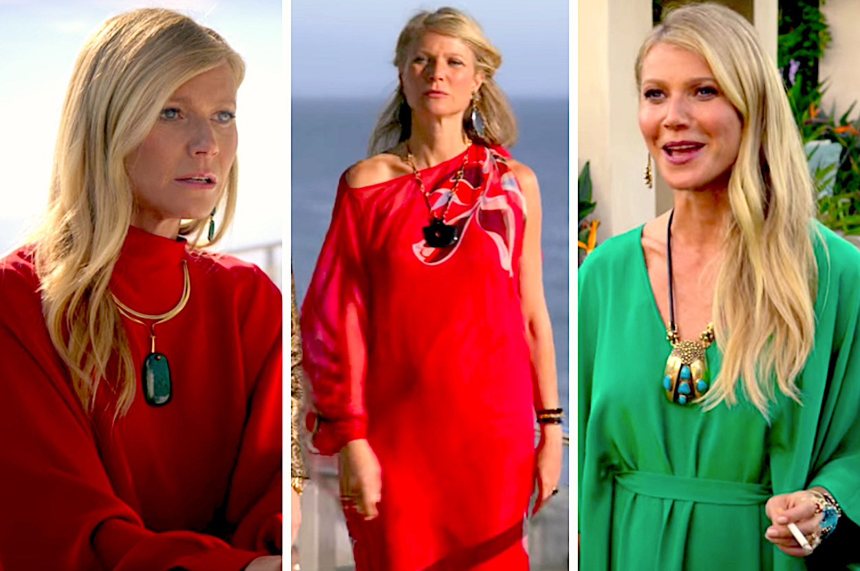 A split image made up of stills from The Politician showing Gwyneth Paltrow with her long blonde hair wearing two red kaftans in first two images, and a green katfan in the third image