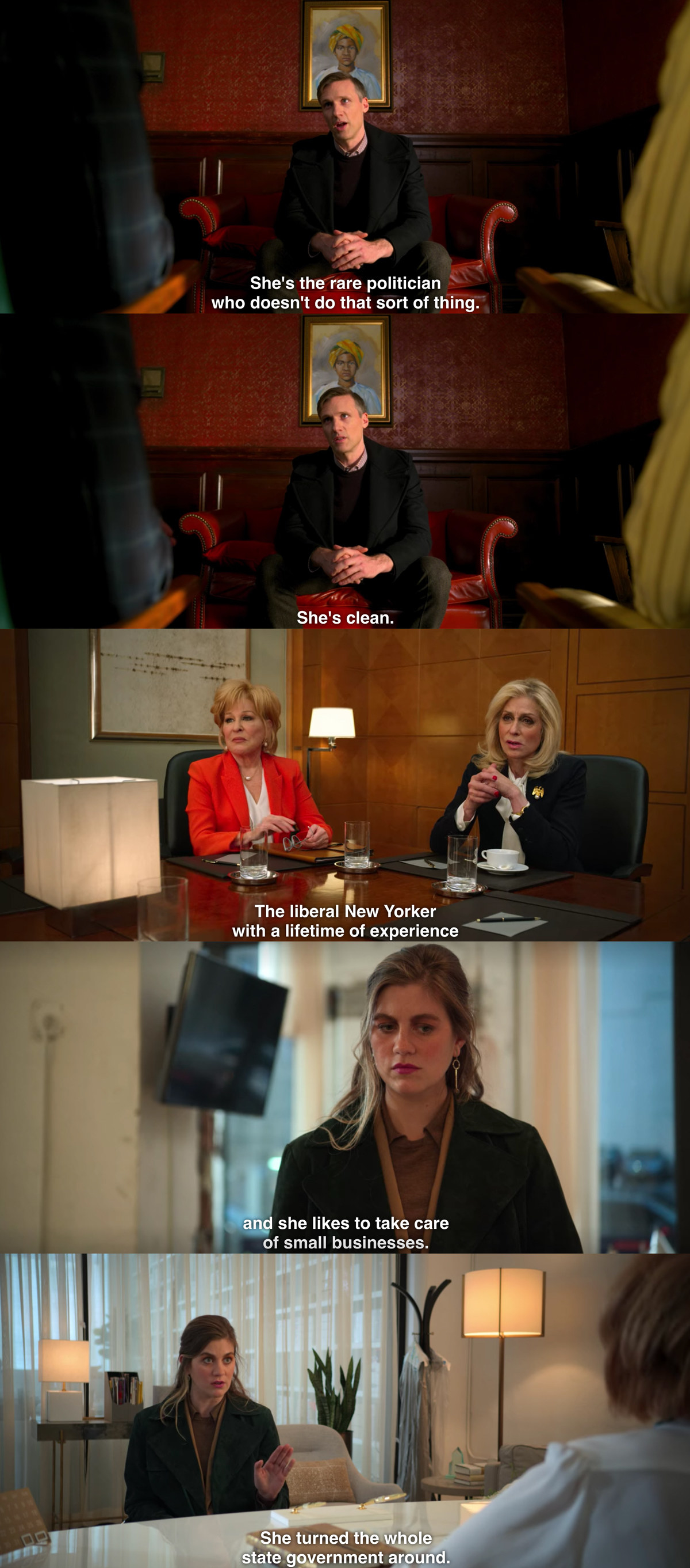 A split image from The Politician showing three characters each praising Dede Standish saying things like she's not a corrupt politician, she's clean, and she's a liberal new yorker with a lifetime of experience and she takes care of small businesses