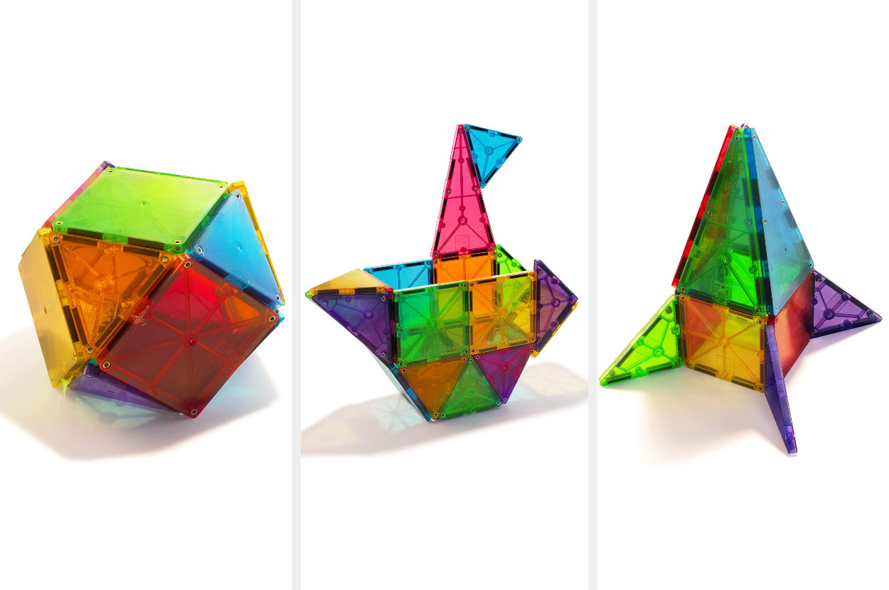 A triptych image of colorful Magna-tiles forming various objects like a ball, a bird, and a rocket