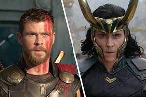 Thor and Loki facing off with each other