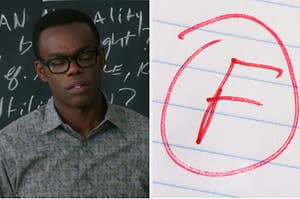 Chidi from the Good Place standing in front of a chalkboard and an F grade with a big red circle around it