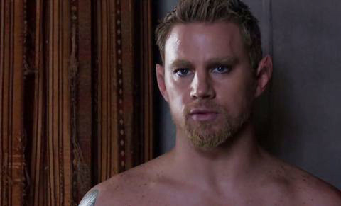 Channing Tatum with his beard and eyebrows dyed bleach blonde