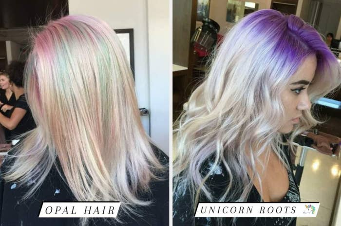 The writer with bleached hair with light blue and pink tints, then with bleached hair and purple roots