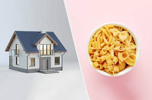 A 3D rendered house next to a bowl filled with various pasta