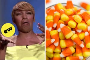 Nene Leakes looking disgusted and a bowl of candy corn