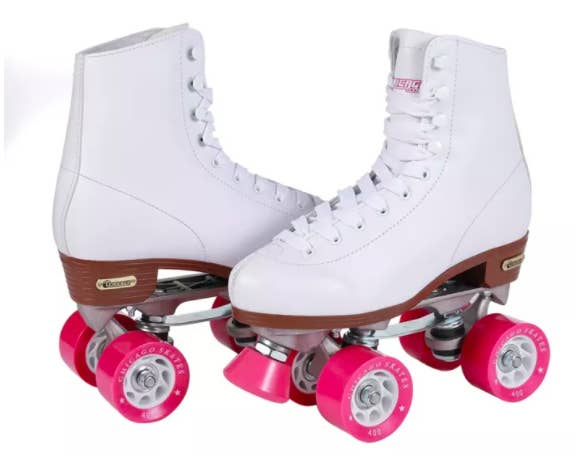 A pair of Chicago Ladies Rink roller skates in white with pink wheels