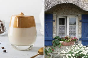 On the left, a whipped coffee, and on the right, the windows of a cottage with flowers in the windows