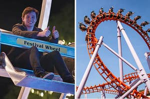 Simon from Love Simon on the ferris wheel and a rollercoaster with an upside down loop