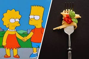 Lisa and Bart simpson next to a fork-full of spaghetti