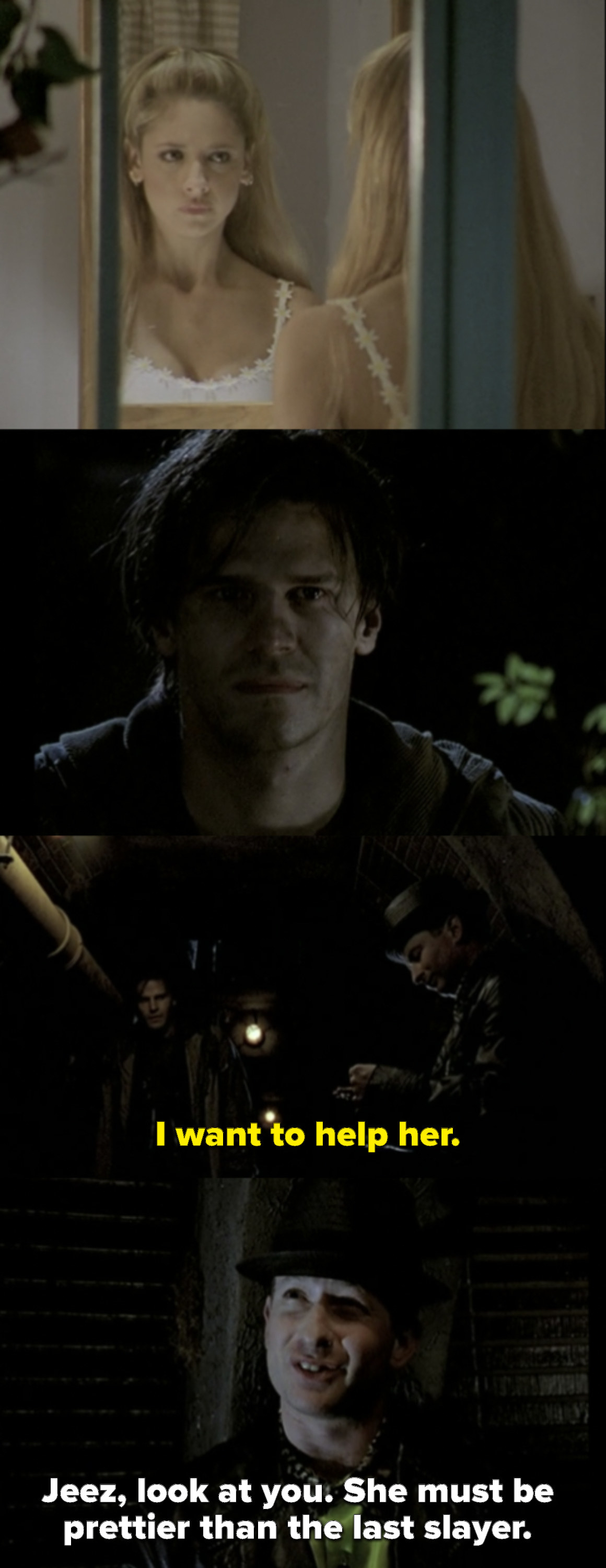 Angel sees Buffy crying through the window, then tells the demon giving him advice that he wants to help her. He replies that the Slayer must be prettier than the last