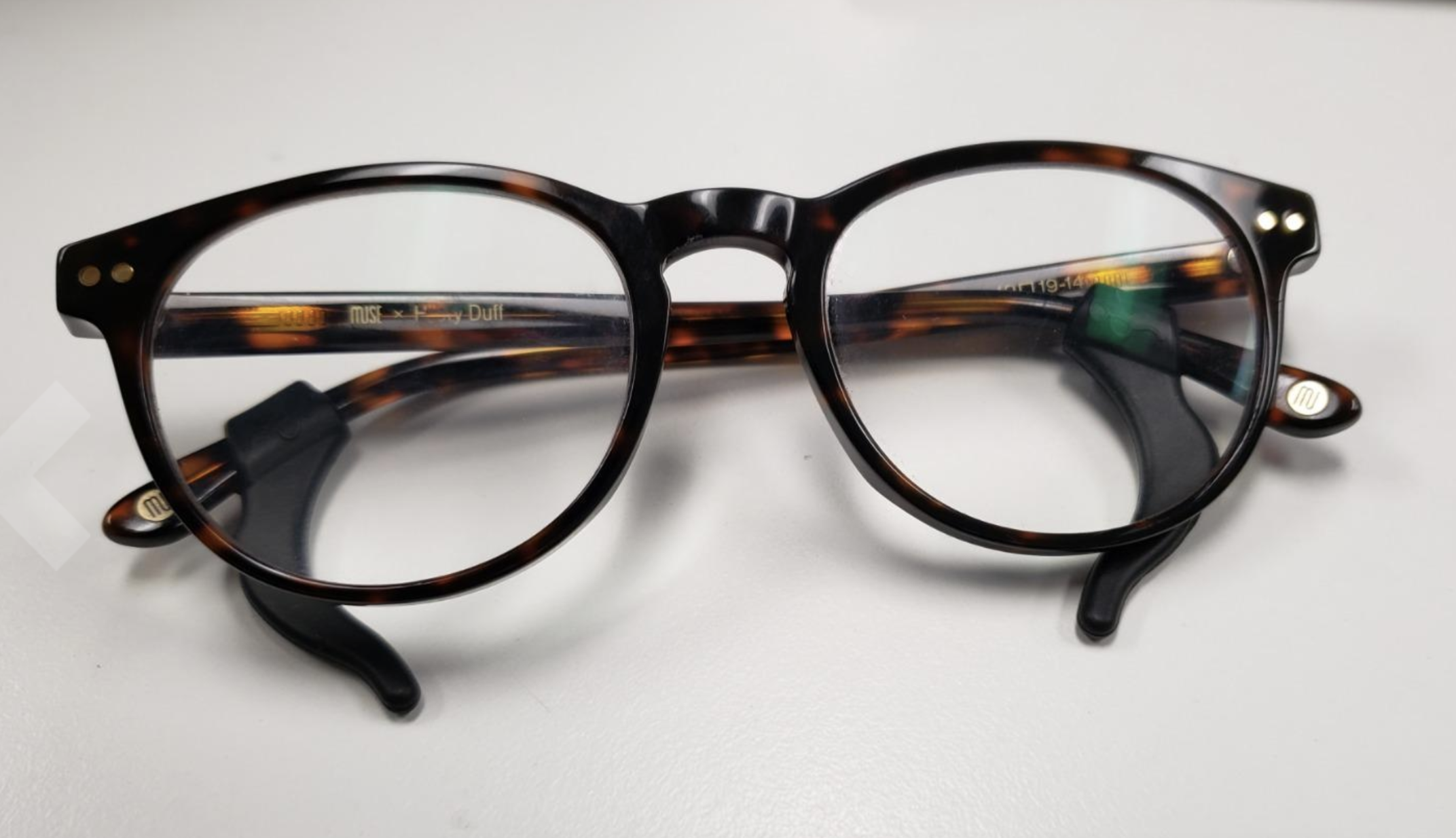 tortoiseshell frames with black silicone grippers