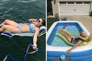Side by side of reviewer lying on inflatable in reviewer lying in their inflatable mini pool