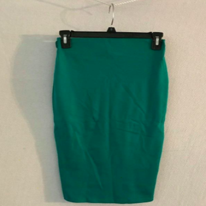 Reviewer photo showing green skirt heavily wrinkled, prior to using steamer