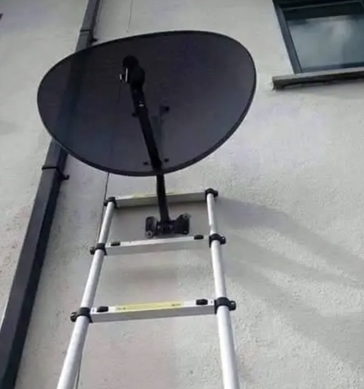 a ladder around a satellite dish