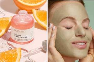 left, vitamin C serum, right, model wearing tea tree mask