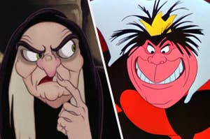 The evil queen from snow white and the red queen from alice in wonderland grimacing
