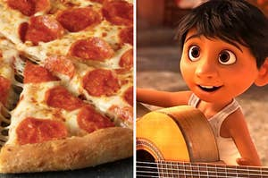"""Pepperoni slices of pizza on the left with Miguel from """"Coco"""" playing a guitar on the right"""
