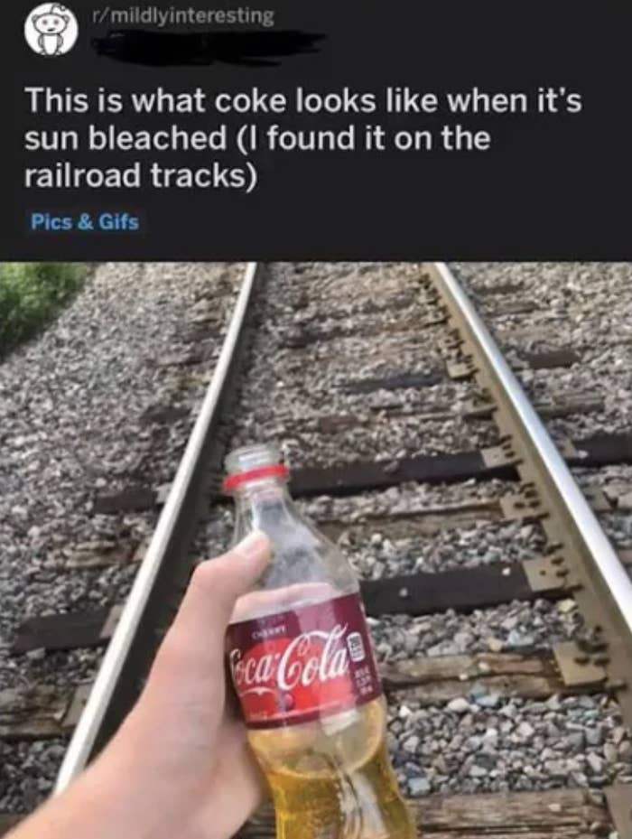 picture of a guy holding a coke bottle with yellow liquid that says this is what sunbleached coke looks like
