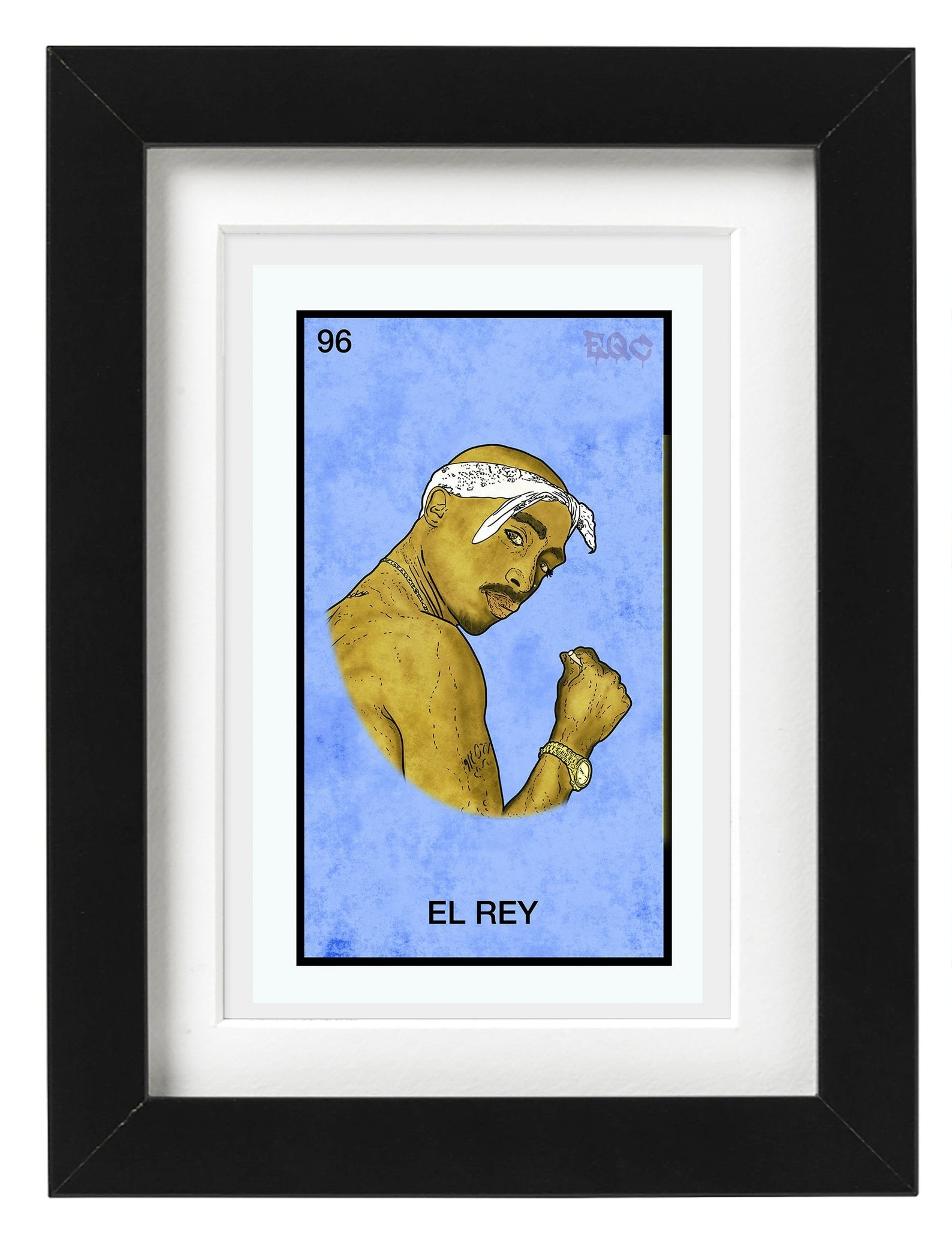 """2 Pac as """"El Ray"""" on Loteria style wall art piece"""
