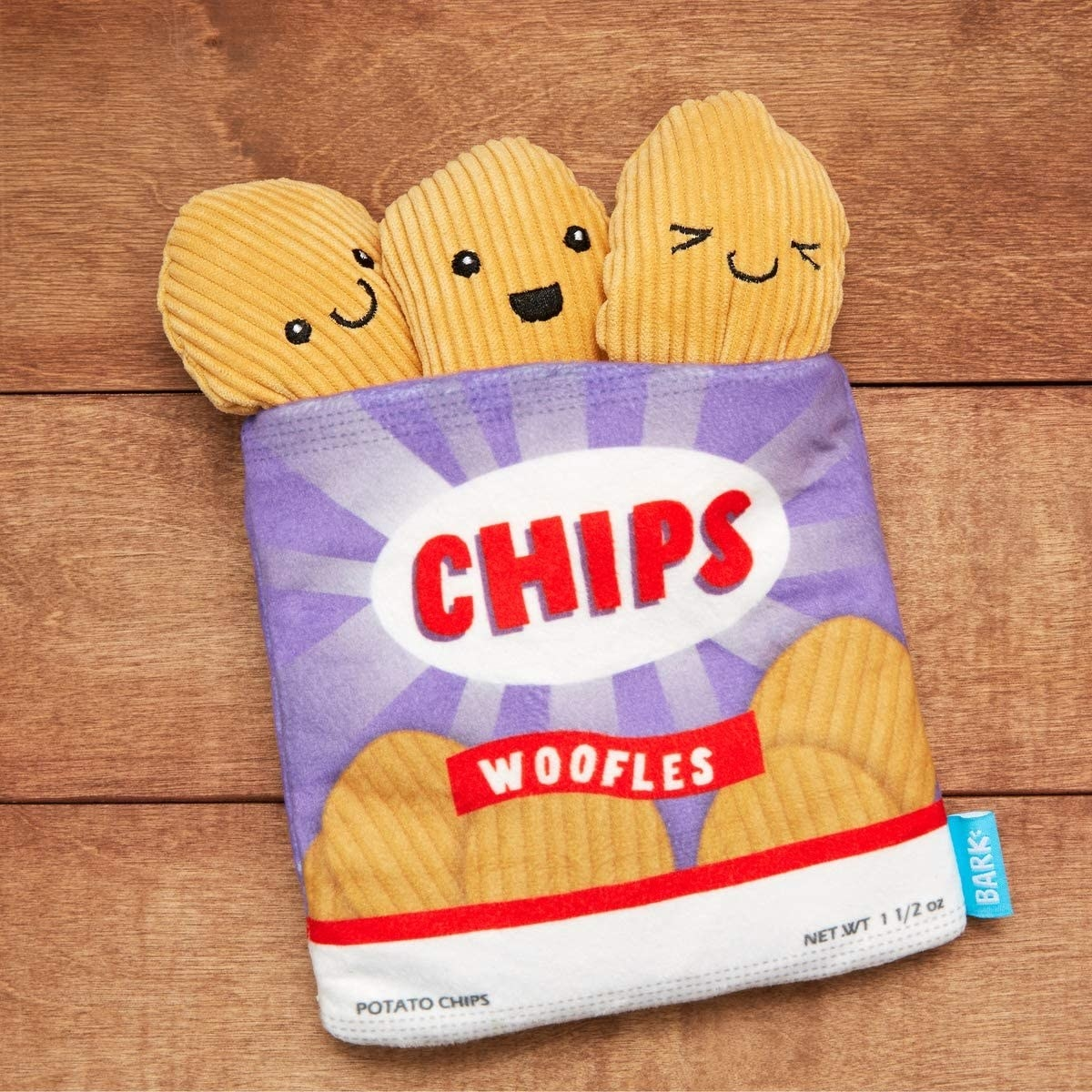 Cartoon bag of chips dog toy