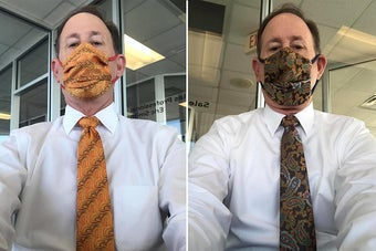Dad wearing two different matching sets of ties and face masks