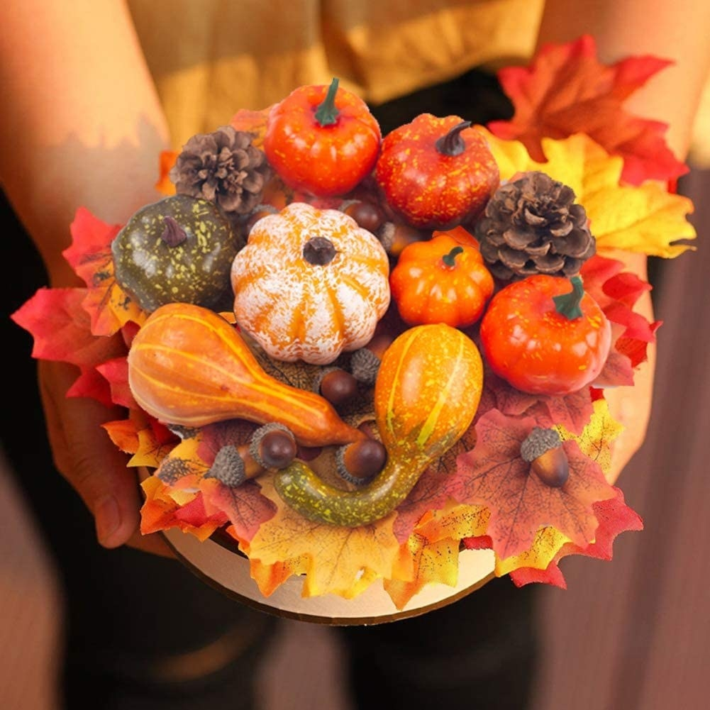 Hands golding gourds mini pumpkins pinecones and maple leaves