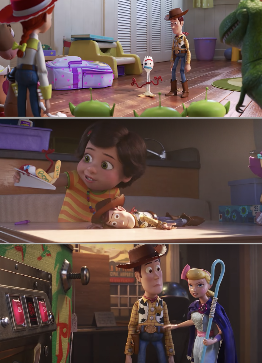 "Woody, Forky, and Bo Peep in ""Toy Story 4"""