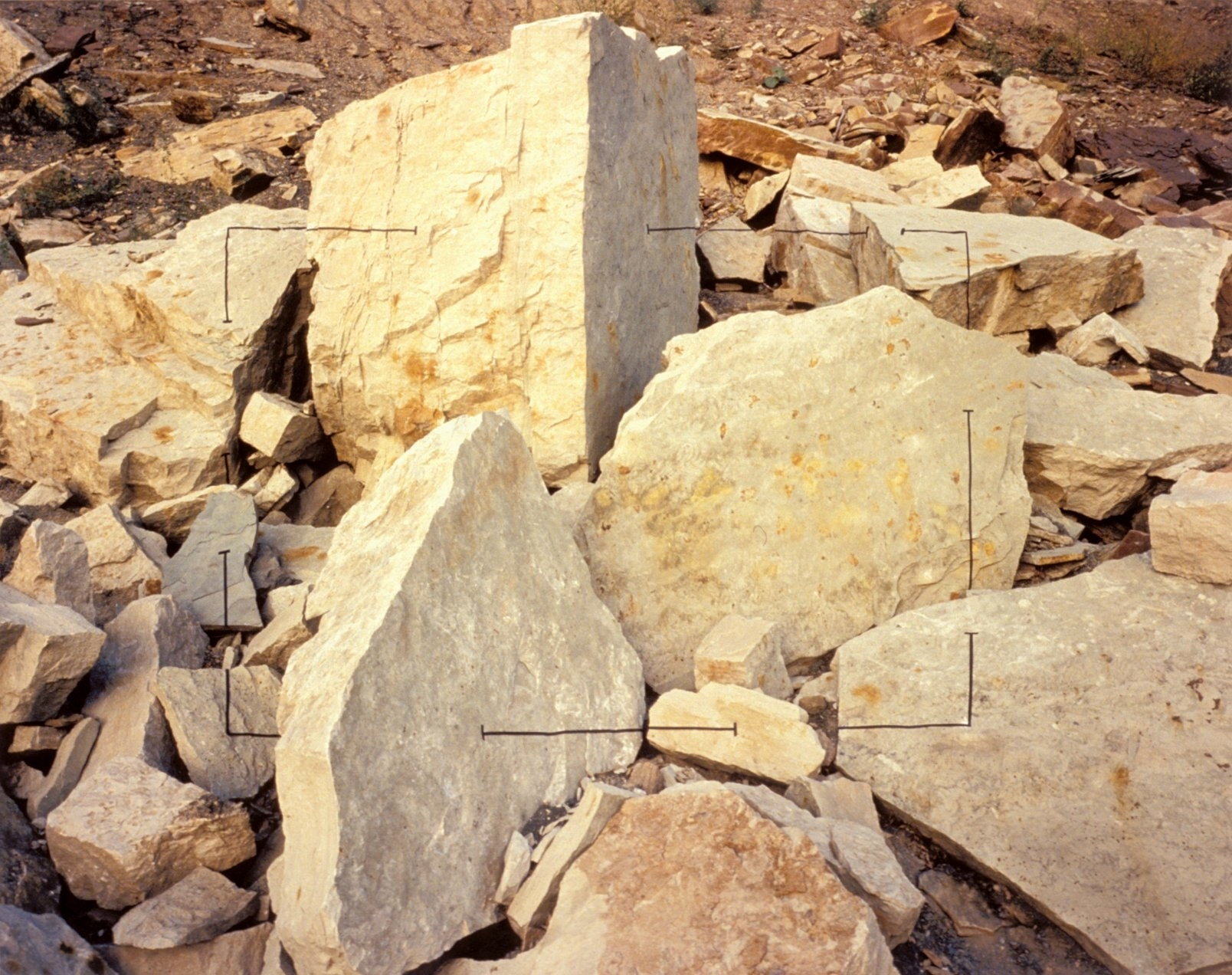 Boulders are seen with a square frame outlined