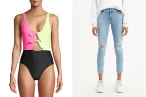 to the left: a model in a two-toned neon one-piece bathing suit, to the right: a model in light wash ripped jeans