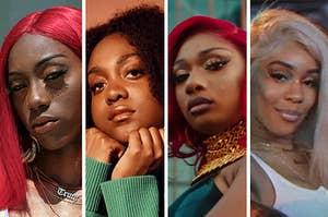 Rappers Noname, Saweetie, Meg Thee Stallion, and Flo Milli
