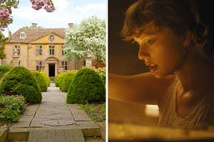 """On the left, a stately home with a stone path leading up to the front chore, surrounded by blooming trees, and on the right, Taylor Swift in the """"Cardigan"""" music video"""