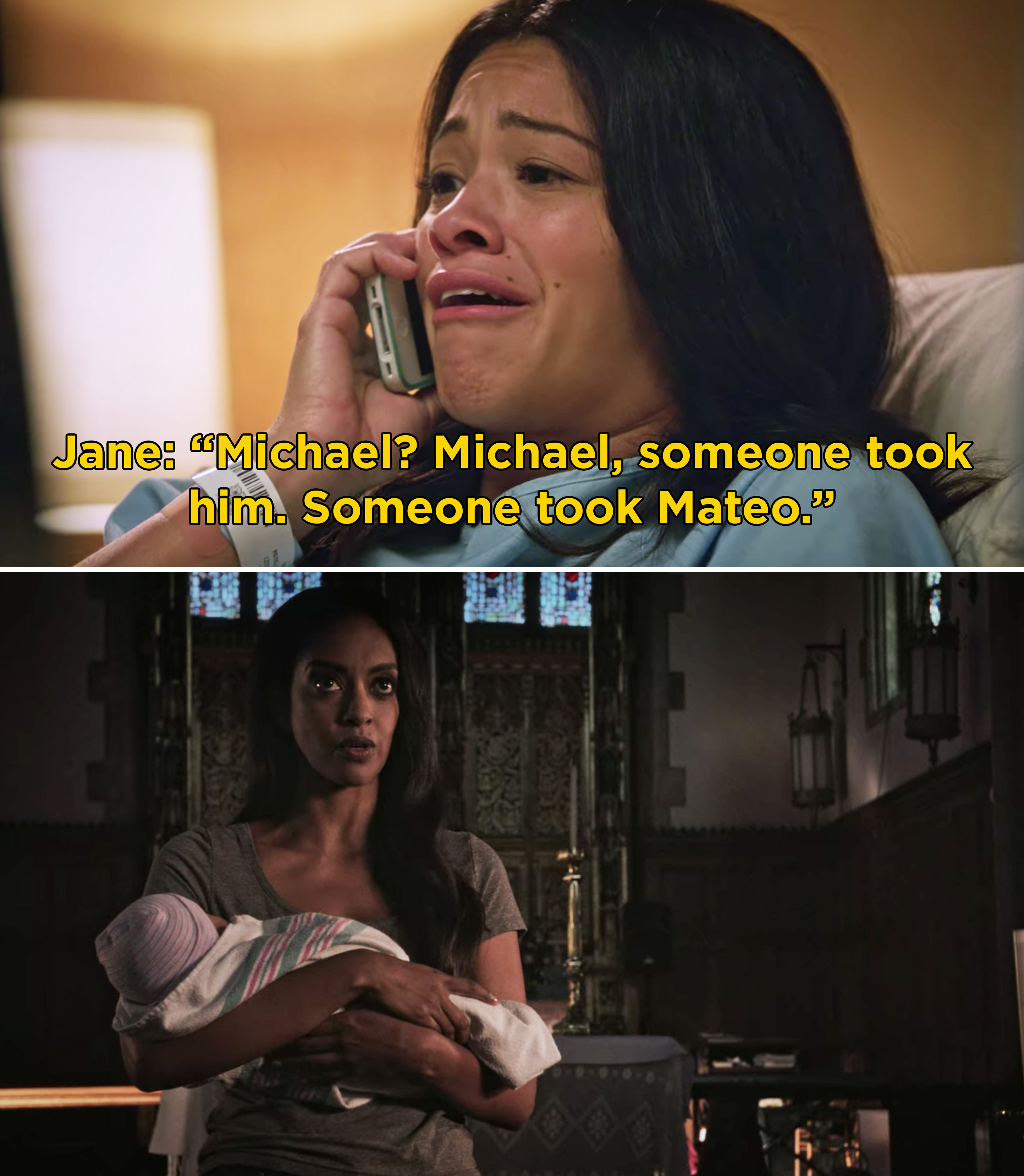"""Jane on the phone with Michael saying, """"Michael? Michael, someone took him. Someone took Mateo"""""""