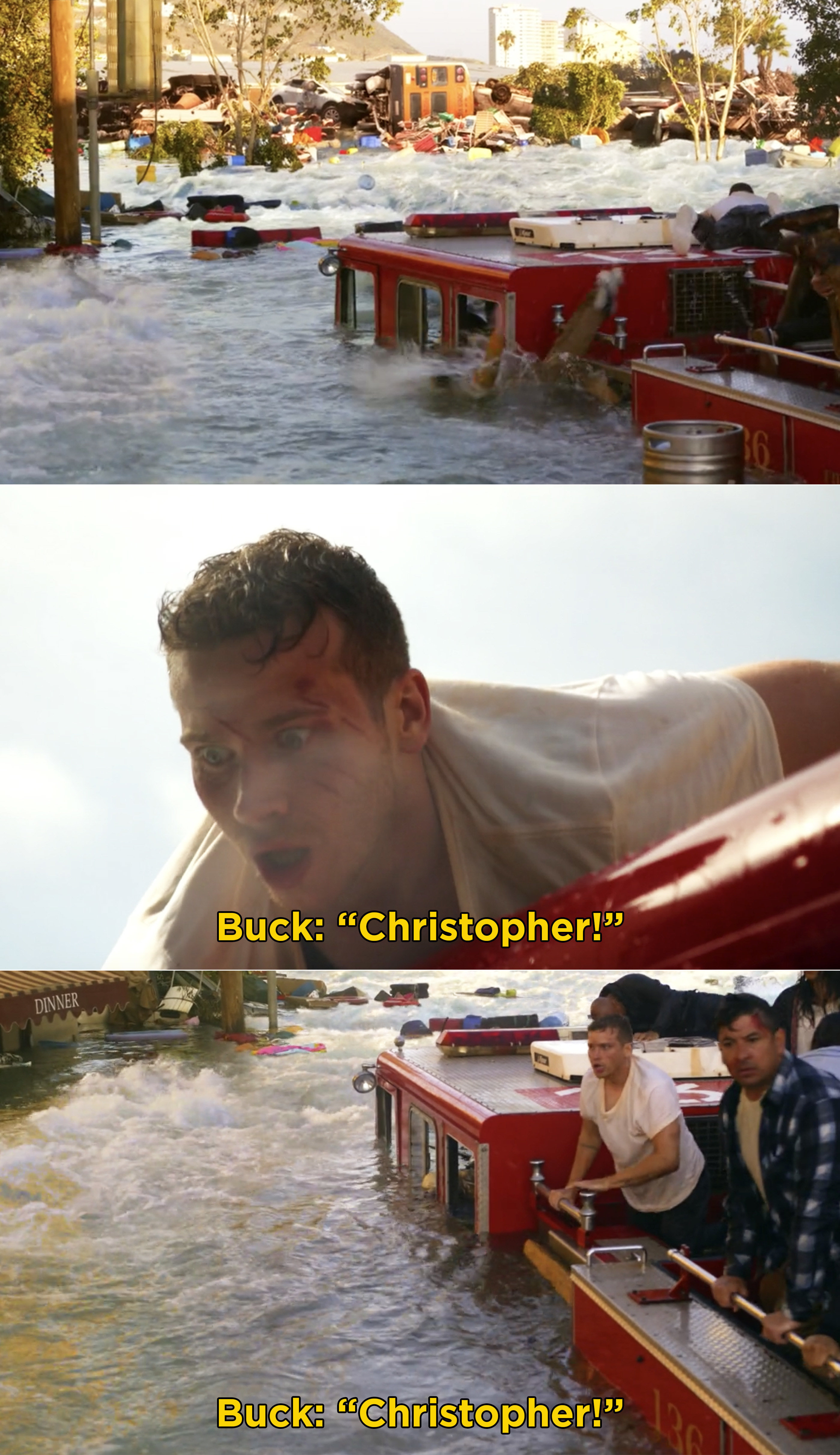 Buck screaming for Christopher and searching the water for him