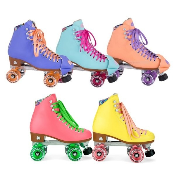 Five Beach Bunny roller skates in five different colors