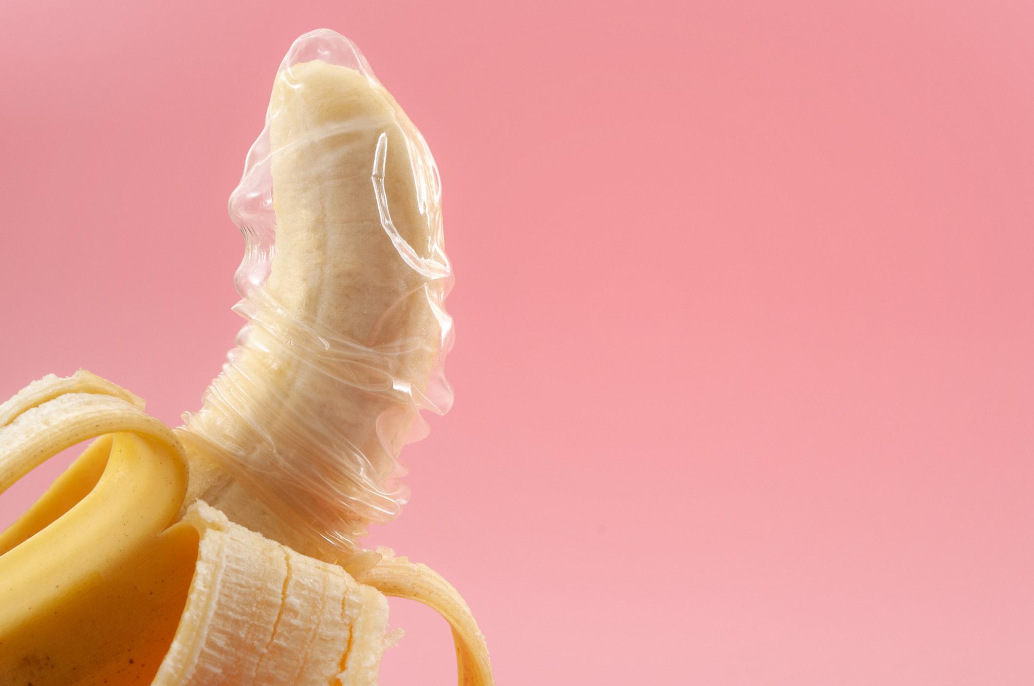 Photo of a condom on a banana