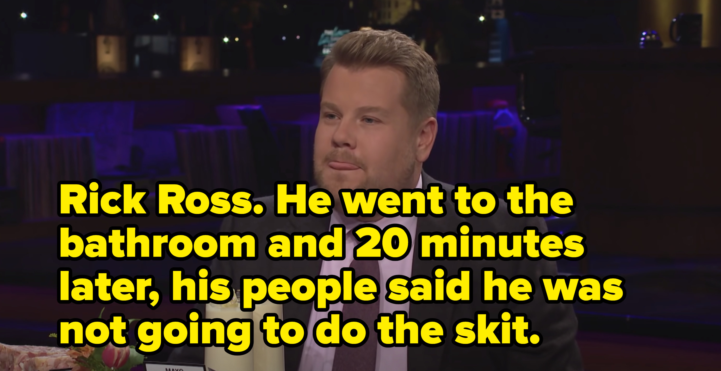 James Corden revealing Rick Ross as his worst guest