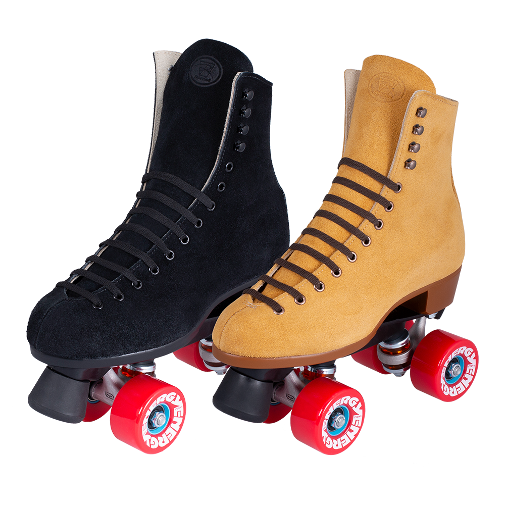 One Riedell Zone Roller Skate in black and one in tan