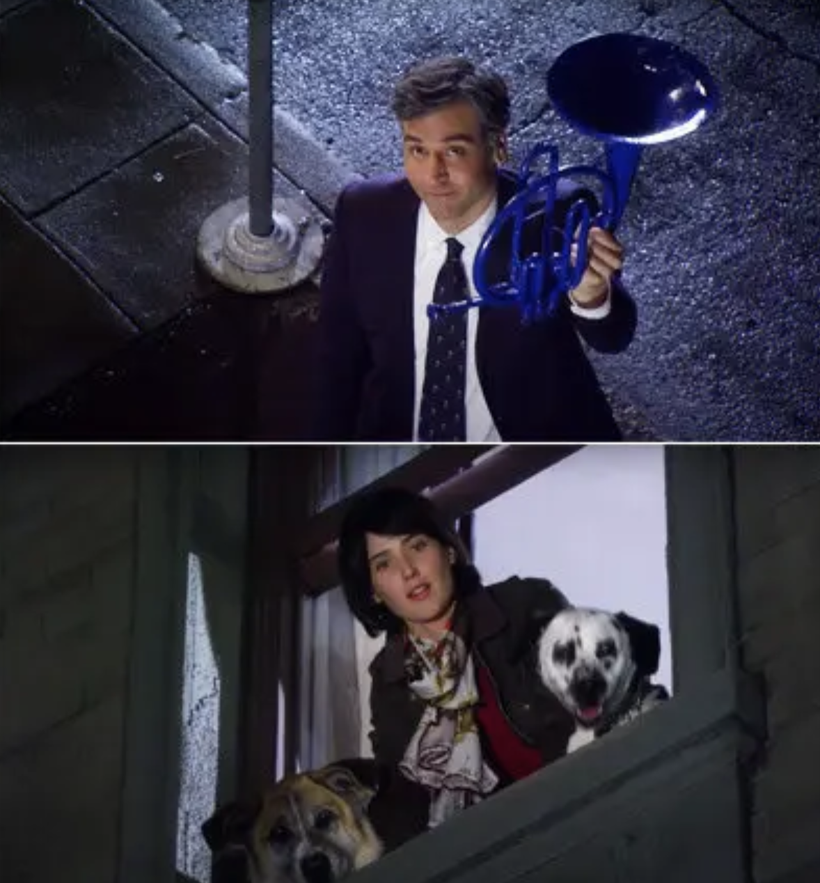 Ted holding a french horn outside Robin's window as she looks out with her dogs